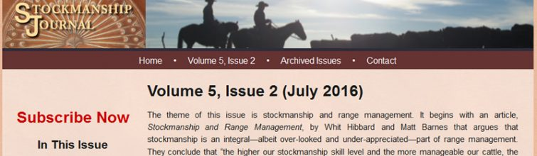 Check out the Summer, 2016 Stockmanship Journal!