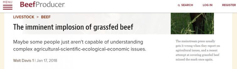 "Article about ""The Imminent Implosion of Grassfed Beef"""
